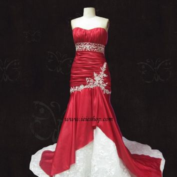Amara Royale Inspired Scarlet Red Mermaid wedding gown Y1021