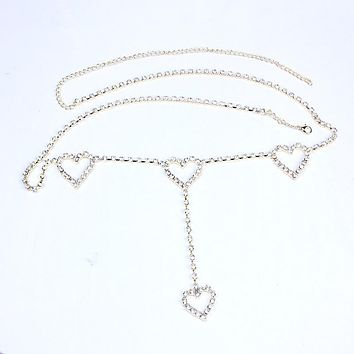 Fashion Rhinestone Heart To Heart Body Chain Gold/silver Color Long Belly Chain Jewlery women