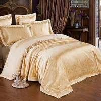 PRINCESS - Piece Luxury Bedding Duvet Cover Set - Gold (KING, QUEN)