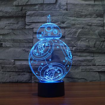 7 Colors change 3D Visual Nightlight Creative Star Wars LED Lamp for Kids Touch Switch Acrylic Table Lamp with USB Line IY803320
