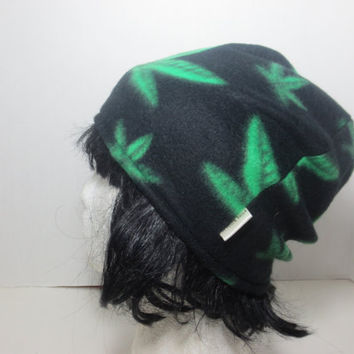 Cannabis Leaf Hat - Stoner Hat - 420 Hats - Fleece hat - One love - Black Friday Sale