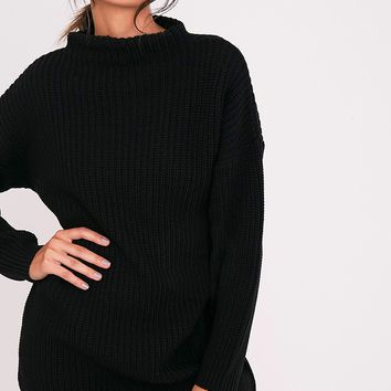 Iffy Black Oversized Cable Knit Dress
