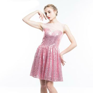 Bling Short Evening Dress Cheap Pink Sequined Mini Prom Dresses Scoop Neck Sleeveless Party Gown
