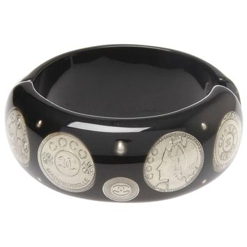 Chanel 2009 Black Resin Silver Plated Coins Cuff Bracelet Bangle