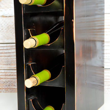 Four Tier Wine Rack, black distressed recycle wood, wine rack, rustic, shabby chic