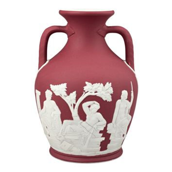 Antique Porcelain, Wedgwood, Crimson Dip Portland Vase at rauantiques.com