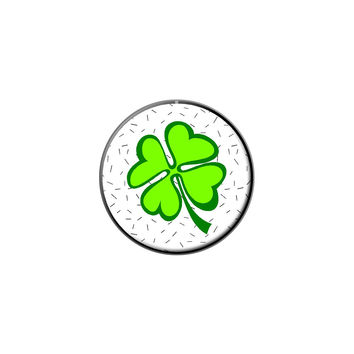 Lots of Luck - Lucky Irish Four Leaf Clover Lapel Hat Pin Tie Tack Small Round