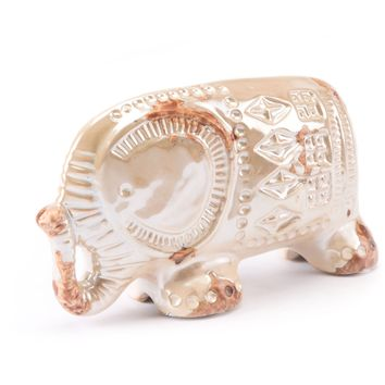 Distressed Pearl Antique Elephant Figurine, Small
