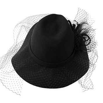 Winter 100% Wool Felt Netting Overlay Fedora Floppy Wide Brim Derby Hat Black