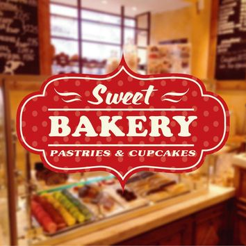 cik1130 Full Color Wall decal baked sweet cupcake bakery sweets