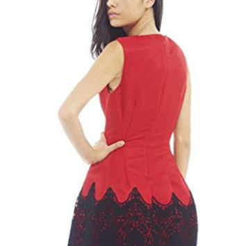 Red Round Neck Crochet Contrast A-Line Dress