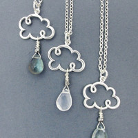 cloud necklace, cloud charm necklace, rain cloud necklace,  raindrop necklace, weather jewelry, cloud jewelry, cloud gift, gift for wife