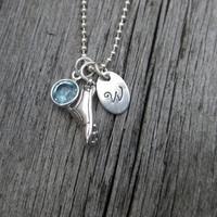 Track Shoe Necklace Hurdles Run Sterling Silver Track and Field Jewelry Personalized Jewelry Hand Stamped Initial