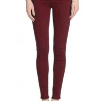 Hipster Vibe Low Rise Skinny Jeans in Burgundy | Sincerely Sweet Boutique