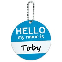 Toby Hello My Name Is Round ID Card Luggage Tag