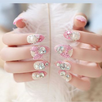 24pcs/Set Pretty Bride Nail Art Tips Round Head Full Rhinestone Pink Bowknot Decal Fake False Nails With Glue Sticker