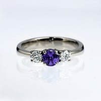 Tanzanite and diamond trinity engagement ring, white gold ring, tanzanite wedding, violet ring, diamond ring, unique, custom, yellow gold