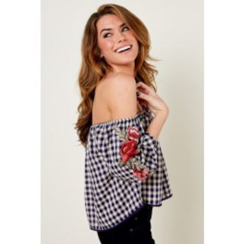 Everly Unforgettable Love Navy Plaid Off The Shoulder Top