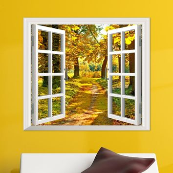 3D Window Forest Birch Tree View Wall Stickers Wall Mural Decals wall stickers home decor bedroom