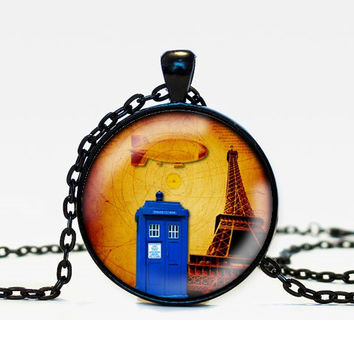 Dr Who Inspired Tardis Pendant Necklace - In Paris - Public Police Box Jewelry