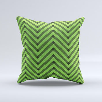 Lime Green Black Sketch Chevron Ink-Fuzed Decorative Throw Pillow