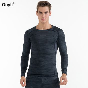 Running Men T Shirt Compression Shirts Long Sleeve Tops Gym Tees Workout Fitness Jerseys Basketball Soccer Quick Dry Sports Wear