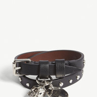 ALEXANDER MCQUEEN Studded double-wrap leather bracelet