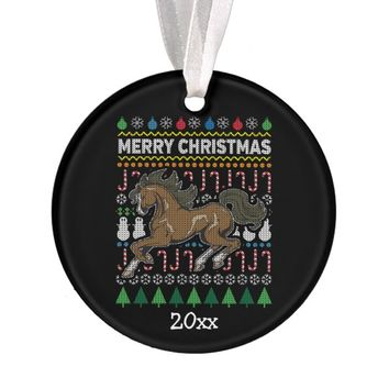 Horse Ugly Christmas Sweater Wildlife Series Ornament