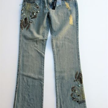 Peppe Peluso Beaded & Embroidered Distressed Boot Cut Jeans 6 NWT