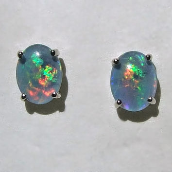 Vintage Black Opal Sterling Silver Stud Earrings Genuine T