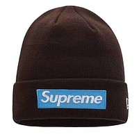 Supreme New fashion embroidery letter couple knitting cap hat Coffee