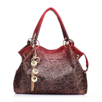 women bag hollow out handbag floral print shoulder bags ladies pu leather tote bag red gray blue