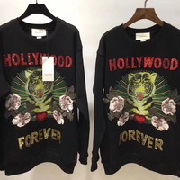 """Gucci"" Women Casual Fashion Sequin Letter Tiger Head Pattern Print Embroidery Flower Long Sleeve Sweater Tops"