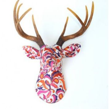 Fabric Deer Head Wall Mount - Bright Paisley Fabric Print with Natural Antlers - Stag Head Faux Taxidermy