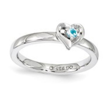 Sterling Silver Blue Topaz Heart Ring