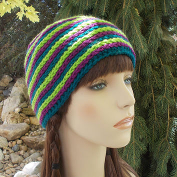 Striped Beanie Hat, Lime Green, Purple, Blue