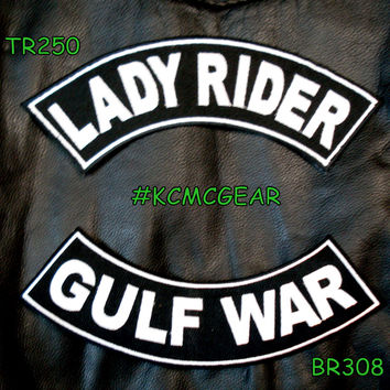 Military Biker Patch Set Lady Rider Gulf War Embroidered Patches Sew on Patches for Jackets
