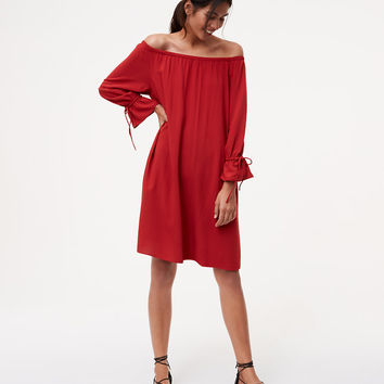 Tie Cuff Off The Shoulder Dress | LOFT