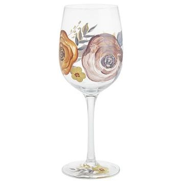 French Fleur Painted Wine Glass