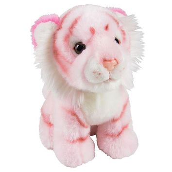 7 Inch Stuffed Pink Tiger Plush Sitting Animal Prism Collection