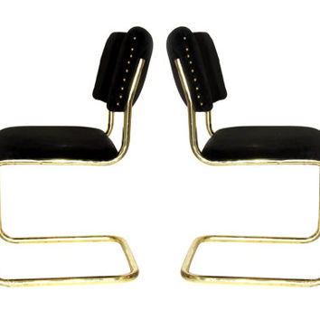 Vintage Brass Bauhaus Style Cantilever Chairs // Chic Vintage Modern Dining or Accent Seating