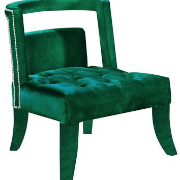 Tribeca Deep Tufting Green Velvet Accent Chair