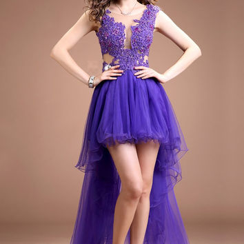 Short Front Long Back Lace Beaded Backless Prom Dresses ED0840