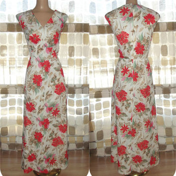 Vintage 70s Orange Floral Print Hostess Maxi Dress BOHO Op-Art Gown Plus Size XL 1X 2X