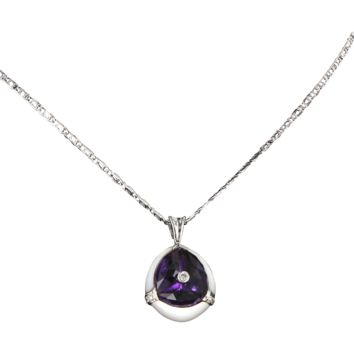Vintage Amethyst Rock Crystal Diamond 18 Karat White Gold Pendant Necklace Estate