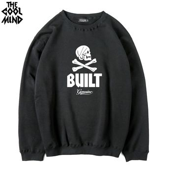 Cotton blend fleece thick fabric men hoodies casual skull printed men hoodies and sweatshirts