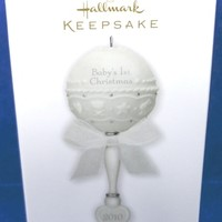 2010 Baby's First Christmas Rattle Hallmark Retired Ornament