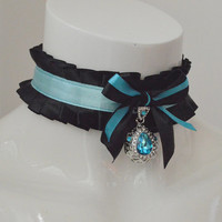 Angel tear - black and rpastel blue with pendant -  pleated cute neko lolita kitten bdsm proof pet play collar