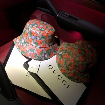 """Gucci"" Women All-match Cute Strawberry Letter Fisherman Cap Fashion Bucket Hat Sun Hat"
