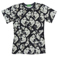 'The Macy' Black 3D Huskie Printed T-shirt